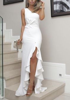 White One Shoulder Prom Dress, Split Pleat Satin Mermaid Prom Dresses, Wedding Party Dresses, Evening Party Gowns, 380 · Loveprom · Online Store Powered by Storenvy Formal Dresses For Women, Elegant Dresses, Dress Formal, White Party Dresses, White Formal Dresses, Wedding Dresses, Elegant White Dress, Beautiful Dresses For Women, Formal Prom