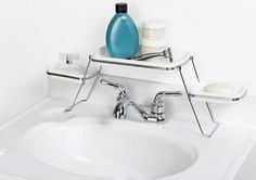 Get extra counter space with an over-the-faucet shelf.