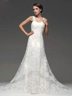 luxus Hochzeitskleider mit Schleppe | Luxus Brautkleider Spitze A-Linie mit Trägern und Schleppe