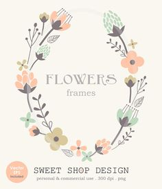 Flower Border Clip Art Frames Wedding Clip Art by SweetShopDesign, $4.95