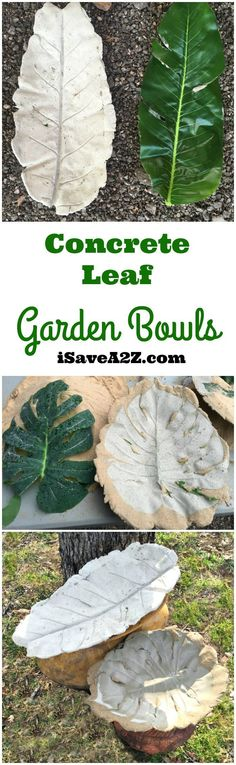 DIY Concrete Leaf Garden Bowl - http://iSaveA2Z.com