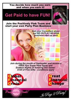 Need some extra cash for Christmas? Want to get out of the house and have some fun? Why not join the team during September and you could get a Sex Game and Pjur Super Hero Spray extra in your kit! Contact us today for an information pack. Hens Night, Pink Parties, Extra Cash, Have Some Fun, Starting A Business, Getting Out, Party Planning, September, Join