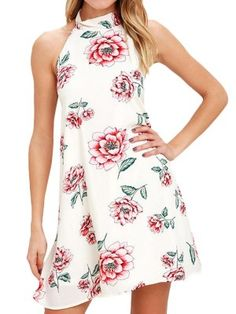 623ff86ccd9 Sexy Open Back Halter Floral Casual Dress Slash