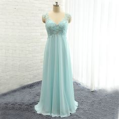 Sexy Chiffon V Neck Light Blue Prom Dresses Backless Beaded Formal Gonws