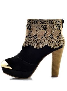 Black Suede Chunky Heel Ankle Boots Shoes S006446,  Shoes, Black Suede Chunky Heel Ankle Boots, Chic
