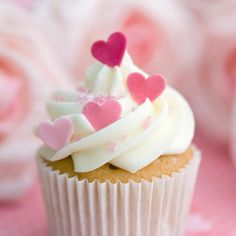 - Homemade Chocolate Chip Mini Cupcake with Vanilla Frosting topped with Edible Pink Hearts!  - Tag a Cake Lover!
