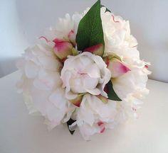 une pivoine geante blanc rosé 70x15cm fleurs artificielles qualite