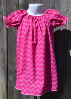 SOLD. Lots of colors, sizes 18m-8  Hot Pink Chevron Peasant Dress Custom by PigtailsNPetticoats, $22.00
