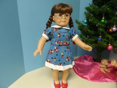 Blue Santa  Dress for American Girl Doll or 18 doll by renwill22