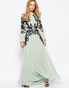 Asos Lace Placed Caftan Maxi Dress