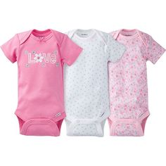 Gerber baby girl Onesies® bodysuits look great and make it easy on mom too! The expandable lap shoulder neckline and ribbed leg openings means dressing in the morning is a cinch. Bottom snap closures are set higher in the front for easy changing. Who ever said looking great and easy couldn't live together in the same sentence?