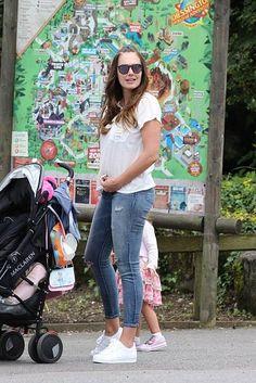 Tamara Ecclestone wearing Adidas Superstar All White Sneakers and Amuse Society Bad Habits Pocket Tee in Casablanca