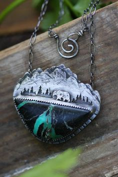 Mountain Bear Necklace. Mountain Jewelry. by AppaloosaDesigns