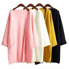2016 ulzzang Ragazza casuale lunghi cardigan lavorato a maglia autunno donne coreane allentato solido del rivestimento di colore di disegno della tasca maglione rosa beige