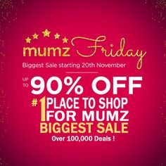Catch the MEGA DEALS of the season with #Mumzworld. Get up to 90% OFF on a wide range of products. Over 100,000 deals coming for you fantastic mumz! Every Single Day, Every Amazing Deal! Offer valid till stock limited. Join the Mumzworld MEGA DEALS now. For more exciting offers check out Shopping Deals, Baby Online, Singles Day, Coupon Codes, Coupons, Join, Range, Amazing, Check