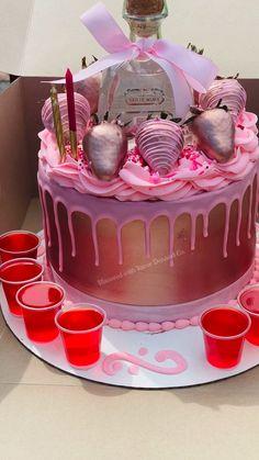 Custom Birthday Cakes, Adult Birthday Cakes, Beautiful Birthday Cakes, Birthday Brunch, Pink Birthday Cakes, Pink Cakes, 25th Birthday, Birthday Ideas, Alcohol Birthday Cake