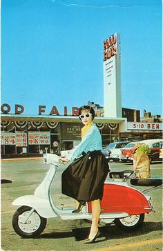 Scooter at the Food Fair A chic gal on the go sitting on a Lambretta Scooter at a Food Fair supermarket. vintage supermarket chic gal on the go sitting on a Lambretta Scooter at a Food Fair supermarket. Mod Scooter, Lambretta Scooter, Vespa Scooters, Piaggio Vespa, Photo Vintage, Vintage Cars, Vintage Photos, Vintage Vespa, Vintage Food