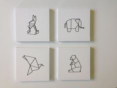Tuto: Making an origami embroidered painting, by Caro Diy Tableau, Diy Tumblr, Origami Design, Kirigami, Grafik Design, Masking Tape, Geometric Art, Diy Art, Diy For Kids