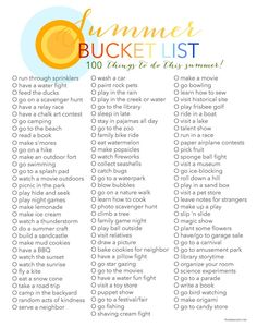Summer Bucket List: 100 Things to Do in Summer Looking for a Summer Bucket List? We are sharing our fun Summer Bucket List Ideas with you so you can enjoy these summer activities with your families to. So many fun Summer Ideas you can Summer Fun List, Summer Bucket, Summer Kids, Bucket List 100, Bucket List For Teens, Activities To Do, Summer Activities, Outside Activities, Indoor Activities