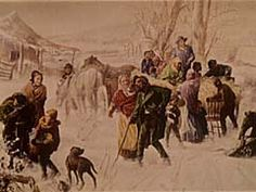 Fugitives Arriving at Indiana Farm, a hiding place owned by Levi Coffin who helped 3,000 slaves escape to freedom (Caty)