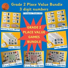 These BASE 10 games (100-999) enable students to practice counting, making, reading, writing