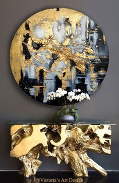 Oversized Canvas Art, Victoria Art, Round Canvas, Oil Painting Abstract, Painting Trees, Painting People, Extra Large Wall Art, Texture Art, Gold Paint