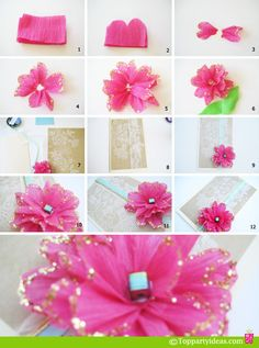 diy tissue paper flower. you could put it on birthday cards!
