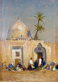 Arabs Before a Mosque, watercolor on paper - Louis Comfort Tiffany