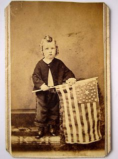 CDV of Civil War Ear Patriotic Young Boy with Flag.  (Pottsville, Pa.). *s*