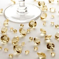 Table decorations.  #wedding #table #decorations #gems #gold