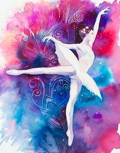 Original Watercolour Painting Ballerina Fashion by SlaviART