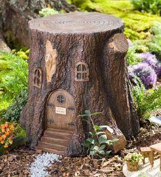 Whimsical Fairy Garden Tree Stump