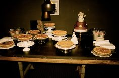 Our pies were made by a local baker. We had a cherry pie, bourbon chocolate pecan, and an apple pie. The stands were borrowed from loved ones.