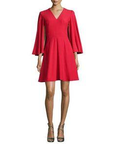 ALEXANDER MCQUEEN Cape-Sleeve V-Neck Mini Dress, Blazer Red. #alexandermcqueen #cloth #