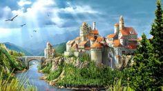 Castle on hilltop bridge fantasy river HD Wallpaper