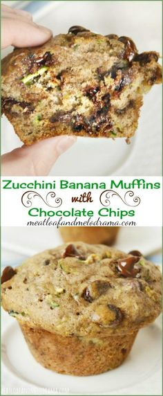 Zucchini Banana Muffins with chocolate chips --  perfect for an easy breakfast or snack and a tasty way to use up zucchini and bananas