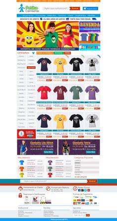 Criação de Interface com usabilidade para página virtual no ano de 2013 para o E-commerce Petito Camisetas.