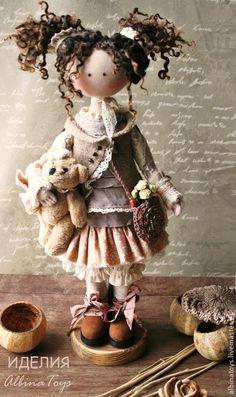 Купить По мотивам Иделии.Текстильная кукла. Бохо стиль - коричневый, бежево-коричневый, кукла
