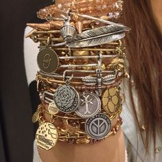 We love mixing metals! #CharmedArms Alex And Ani Necklaces, Alex And Ani Bangles, Alex And Ani Jewelry, Pandora Bracelets, Pandora Jewelry, Pandora Charms, Bangle Bracelets, Pandora Rings, Stackable Bracelets