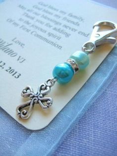 Communion baptism keychain purse clip party favor by buysomelove Baptism Party Favors, First Communion Favors, Christening Favors, First Holy Communion, Diy Jewelry, Jewelry Making, Boy Baptism, Baptism Ideas, Religious Gifts