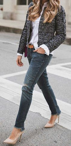 #summer #outfits  Tweed Jacket+ White Blouse + Ripped Jeans