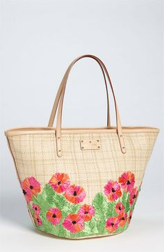 kate spade new york 'coal - small' straw shopper available at Nordstrom