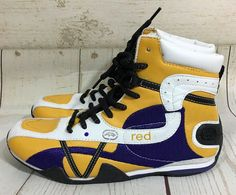 Women's Ecko Red HEATHER Hi-Top Sneakers White Blue Yellow Size 7 #EckoRed #HiTopTrainerBoots