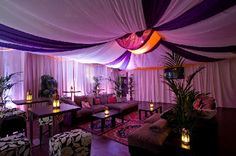 I love the fabric canopy on the ceiling and walls. It's an easy way to hide ugly walls or to cover plain ones you're not allowed to paint! Arabian Party, Arabian Nights Theme, Arabian Decor, Jasmin Party, Sweet 16 Themes, Arab Wedding, Prom Decor, Fabric Canopy, Moroccan Style