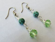 Turquoise and Green and Silver Swarovsky crystal drop earrings by GypsyDreamerCafe, $10.50