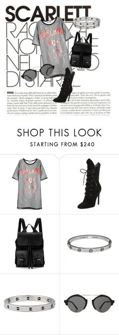 """""""Moschino"""" by amra-mujcic on Polyvore featuring moda, SCARLETT, Moschino, Kendall + Kylie, Aspinal of London, Cartier i Illesteva"""
