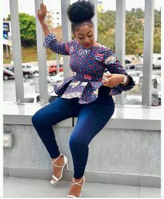 ankara stil Must have hot trending ankara tops to pair with your jeans. African Wear Dresses, African Fashion Ankara, Latest African Fashion Dresses, African Print Fashion, African Attire, African Prints, Nigerian Fashion, Ghanaian Fashion, Ankara Tops Blouses