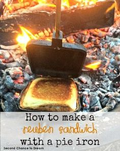Second Chance to Dream: How to make a Reuben Sandwich in a pie iron camping desserts, camping kindergarten, kids camping activities Camping Desserts, Camping Menu, Camping Recipes, Tent Camping, Camping Ideas, Camping Foods, Camping Cooking, Camping Stuff, Camping Outdoors