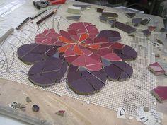Kefa Flowers in progress | Institute of Mosaic Art Mural Mak… | Flickr