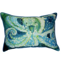 This Octopus pillow features the artwork of artist Betsy Drake. The pillow can be used indoors or outdoors and is fade-resistant and machine washable.